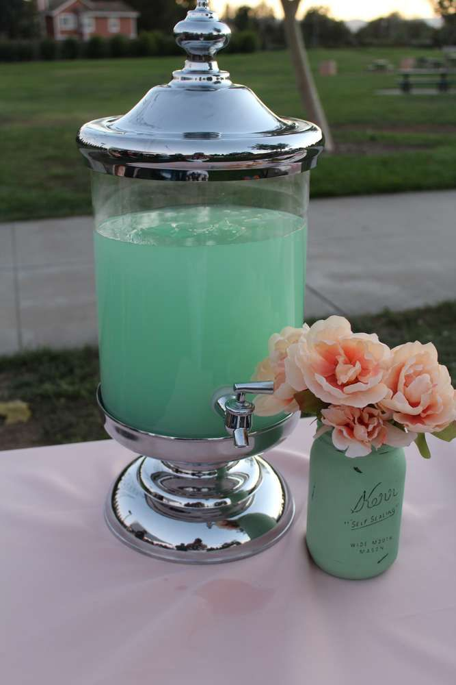 Mint coral and gold Baby Shower Party Ideas   Photo 1 of 31