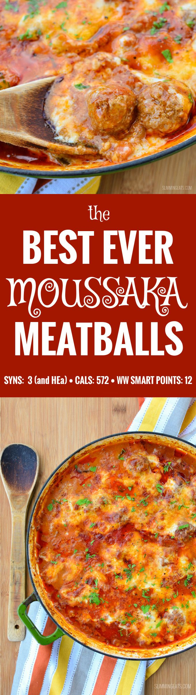 Slimming Eats Moussaka Meatballs - gluten free, Slimming World (SP) and Weight Watchers friendly