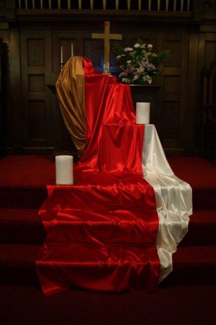 Pentecost red fabric installation at RCC