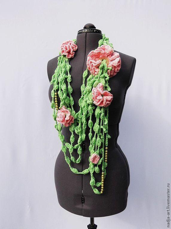 Купить Шарф Трансформер Нежно Розовые Пионы Вязаный Крючком Объемный - купить объемный шарф