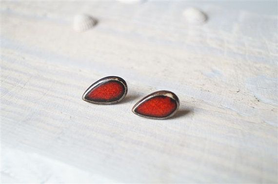 post earrings ceramic tear drop post earrings red studs by bemika