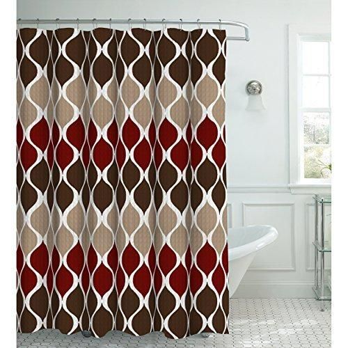 Creative Home Ideas Oxford Weave Textured 13-Piece Shower Curtain with Metal Roller Hooks Clarisse Espresso