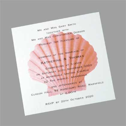A beach wedding invite featuring an image of a seashell printed behind the wedding details. The shell can be printed in a number of other colours. www.kardella.com