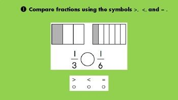 Fractions Task Cards (2 sets) Write the Fraction for the shaded part 26 Task Cards and Recording Sheet Compare two fractions using symbols greater than, less than, and = 12 Task Cards and Recording Sheet projector, smartboard, ipad, document camera