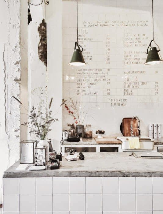 kitchen styling.. Concrete benchtops
