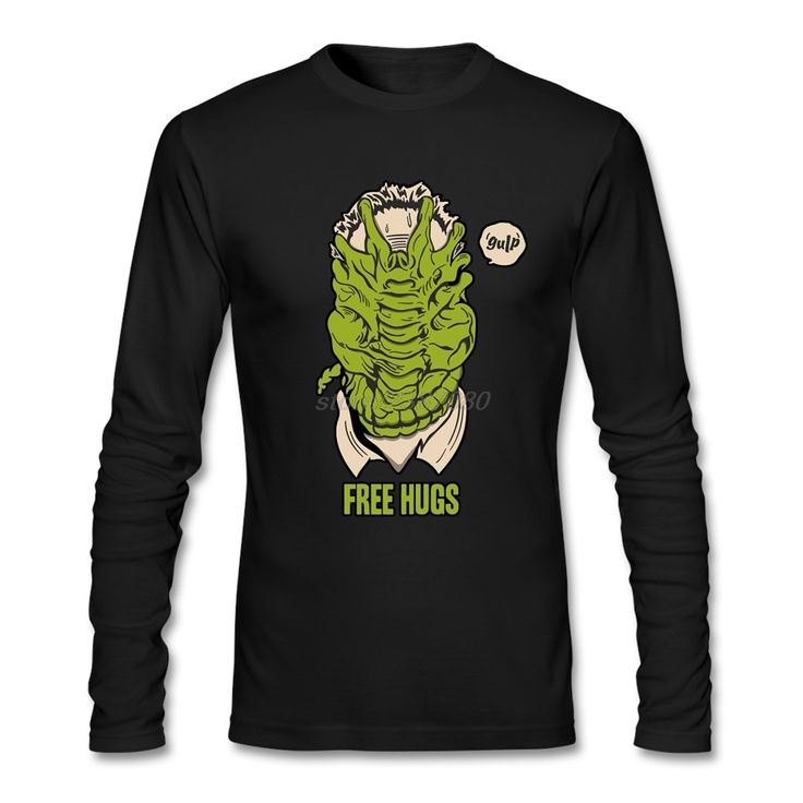 Full Sleeve T Shirts Men Personalized Alien Facehugger Free Hugs T Shirts For Man Brand Humorous T Shirts #Affiliate