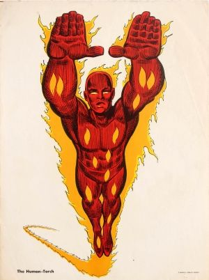 Superheroes Human Torch Marvel, 1970s - original vintage Marvel comic book advertising poster featuring the fictional superhero The Human-Torch created by Stan Lee and designed by Jack Kirby listed on AntikBar.co.uk