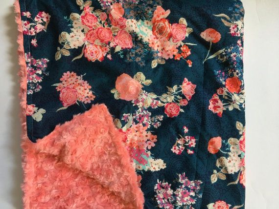 navy Floral Nursery Coral Nursery Baby Blanket by DwellDarling