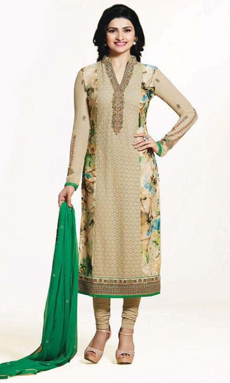 Buy online Churidaar Beige Party wear Straight Cut Suit (SKU Code : SUEBRVF4652) at Ishimaya Fashion.