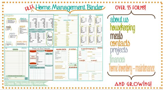 Free home management binder, for organizing your entire household.