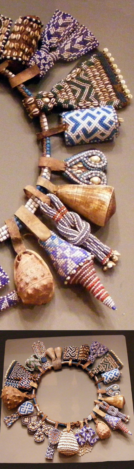 Africa | Details from a belt from the Kuba people of DR Congo | Glass beads, shells, leather, natural fiber: