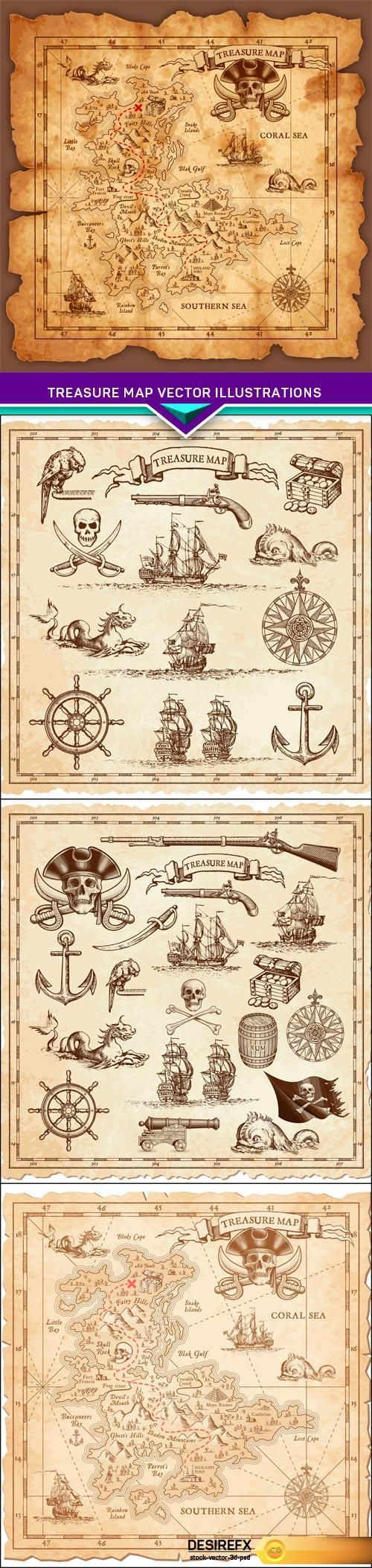 Find your Grapfix Desire With US http://www.desirefx.me/treasure-map-vector-illustrations-4x-eps/