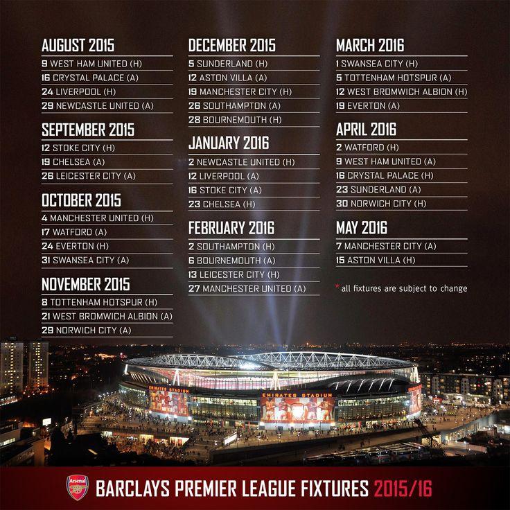 UPDATED: Arsenal's 2015/16 fixture list