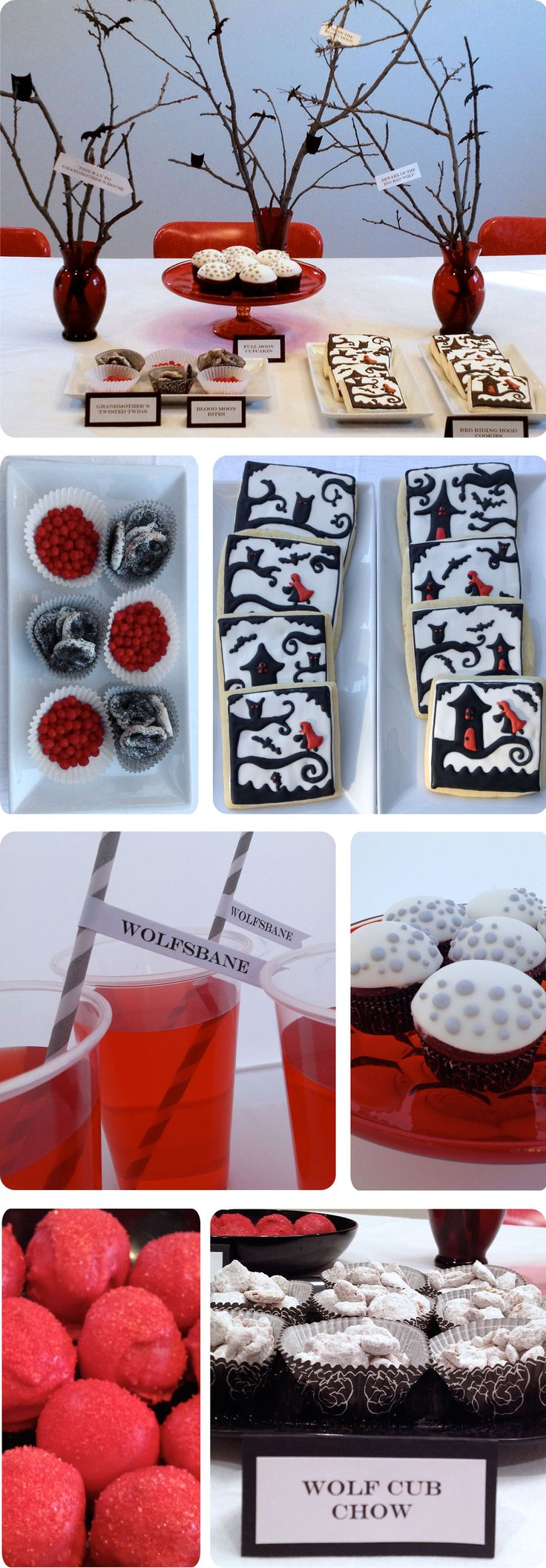 Love the owls, bats and red riding hood cookie design
