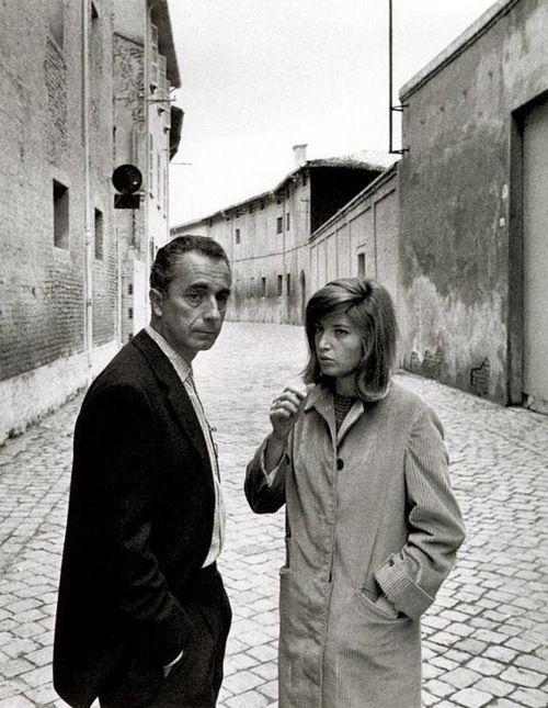 Michelangelo Antonioni with Monica Vitti on set.