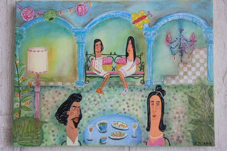 Julie Massam: acrylic and collage on canvas. A rather stylish tapas bar in Palafrugell, Northern Spain where I felt very out of place in my charity shop floaty dress and plastic flip flops!