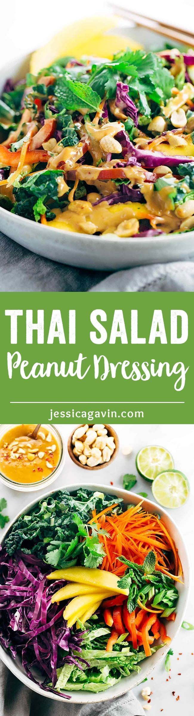 Crunchy Thai Salad Recipe with Creamy Peanut Dressing - Each bite is packs a powerhouse of fresh superfoods all in one irresistible bowl   http://jessicagavin.com