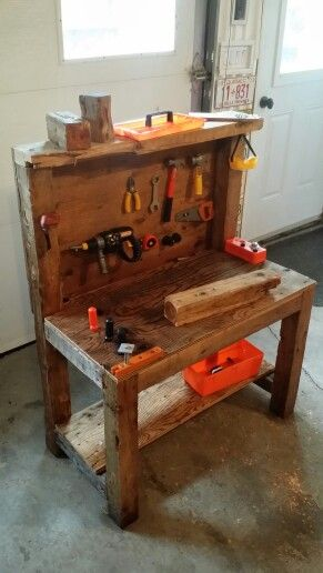 Rustic kid's workbench