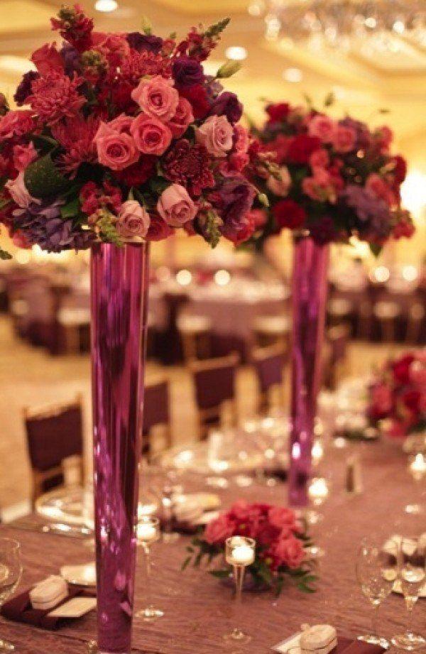 Close Reception Table View, Fuchsia Floral Arrangements, Detailed Floral Centerp… – Weddingish