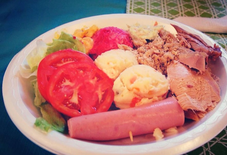 Newfie Cold Plate (usually consisting of items such as: beet potato salad, mustard potato salad, regular potato salad, turkey or ham, stuffing, and a roll) - this was usually supper on Sunday evenings and often served at weddings and banquets.