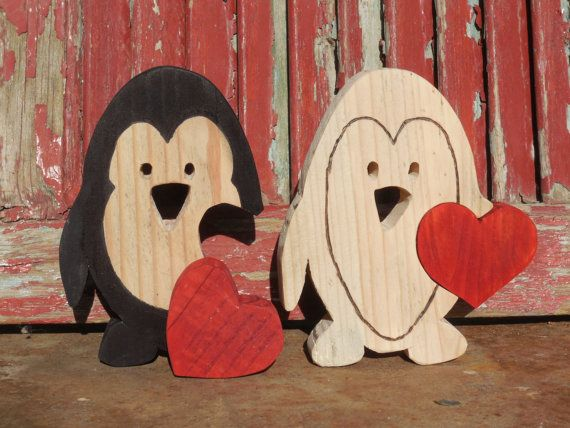 Wooden Cute Valentine Penguin with red Love by DesertHeartsCo