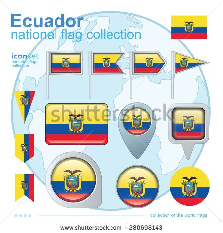 Flag of Ecuador, icon collection, vector illustration