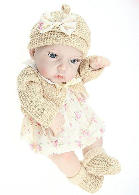 Nicery Dura Del Silicone Bambola Reborn Bambino 11inch 28 Centimetri Impermeabile Giocattolo Floreale Gonna Khaki Ragazze Baby Doll A3IT