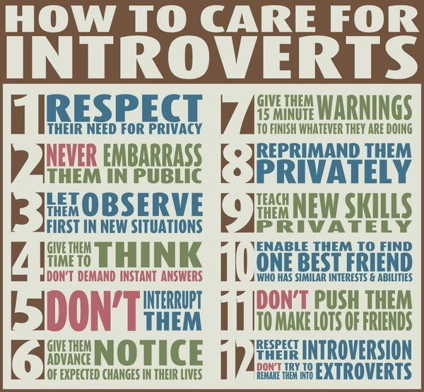 Introverts. Coming from someone who is one, I can tell you if more people did this, it would help a lot. :)