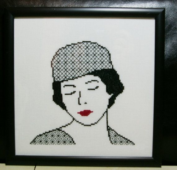 Elegant Lady Cross Stitch Picture Blackwork by BlueTopazStitchery, $30.00