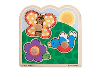 Melissa & Doug Garden Jumbo Knob Puzzle. These extra-thick wooden puzzles feature a jumbo wooden knob that is easy for toddlers to grasp.