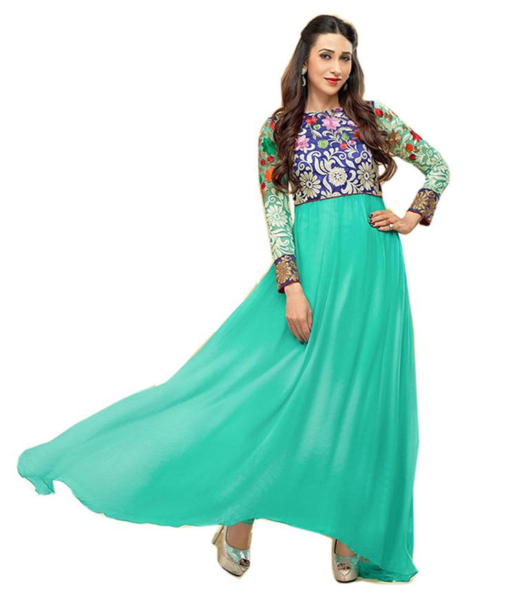 Party Wear Dresses Karishma Kapoor Turquoise Poly Georgette Dress Material, http://www.snapdeal.com/product/party-wear-dresses-karishma-kapoor/1189650259