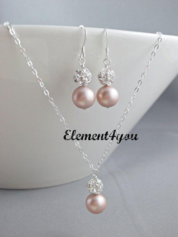 Pearl Rhinestone Bridal Necklace Earrings Set - Bridal Wedding Jewelry, Bride, Maid Of Honor, Bridesmaids, Swarovski White Ivory Pink pearls...