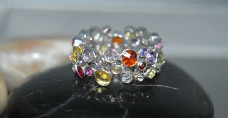 Multi coloured AAAAA grade cubic zirconia 925 sterling silver wedding band by IsaBellaJewellery on Etsy