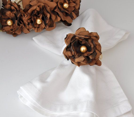 BIG SALE Brown Napkin Rings by Satin Fabric Flowersset by DOGAART, $30.00