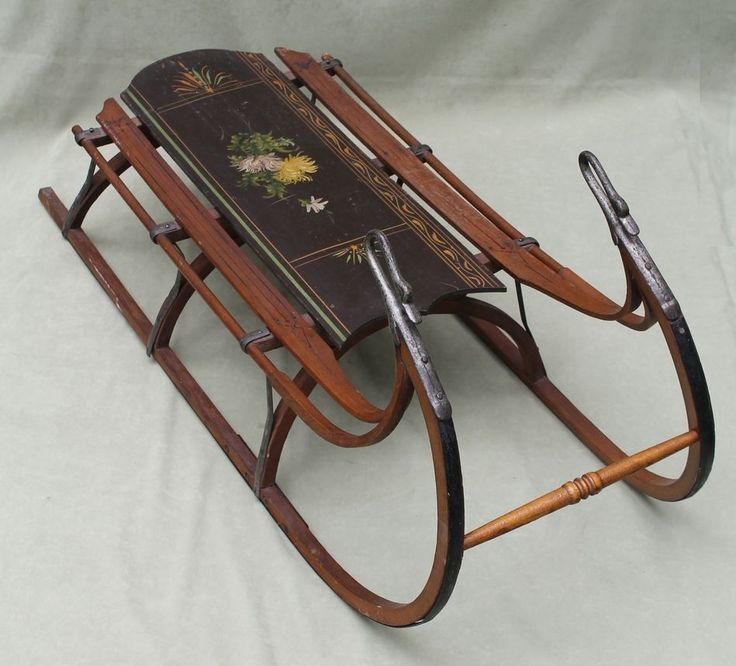 Antique American Victorian Childs Sled, Folk Art Painting & Cast Iron Swan Heads Amazing Original Condition Sold Ebay 878.00