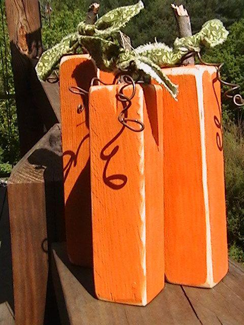 Primitive Pumpkin Trio Wood Autumn Decor 3 pc by PineBranchDesigns, $14.00