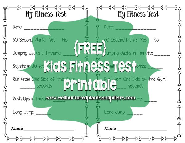 {FREE} Printable Fitness test for kids. Great for before and after fitness testing