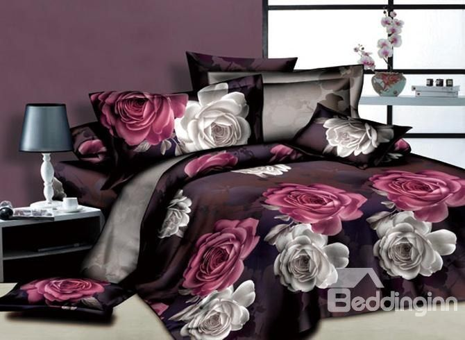 White and Red Flowers Printed 4 Piece Unique Duvet Covers Bedding Sets #3d #bedroom #bedding #decor
