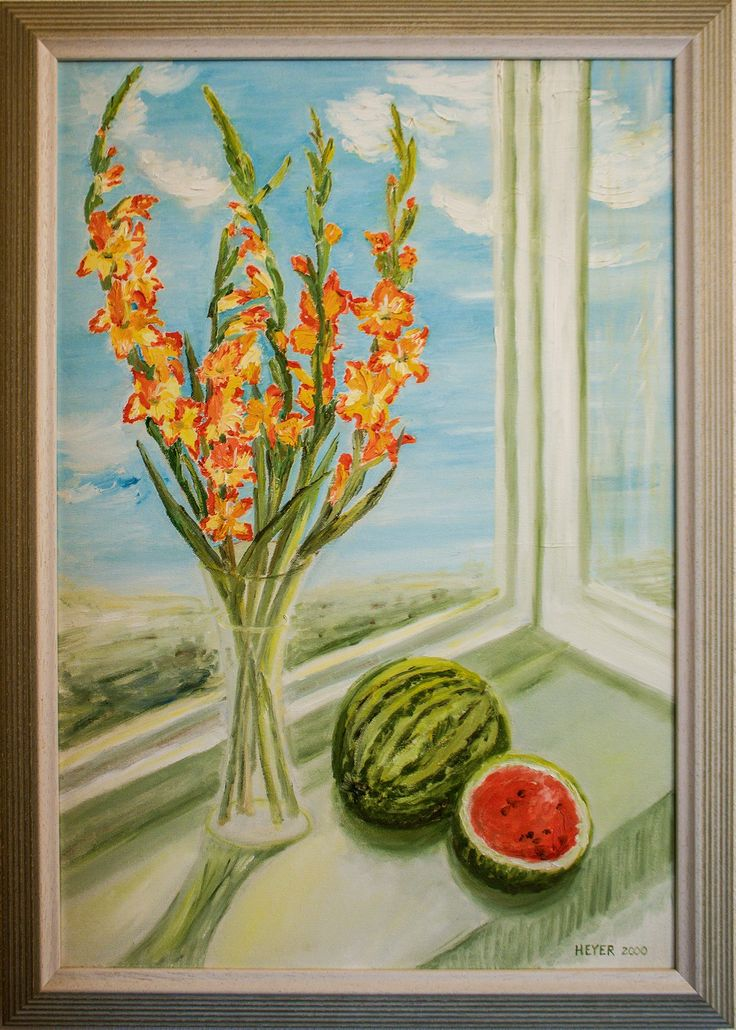 Gladiolen, Öl auf Leinwand, 70 50, aus der Serie Küchenbilder, www - küchenbilder auf leinwand