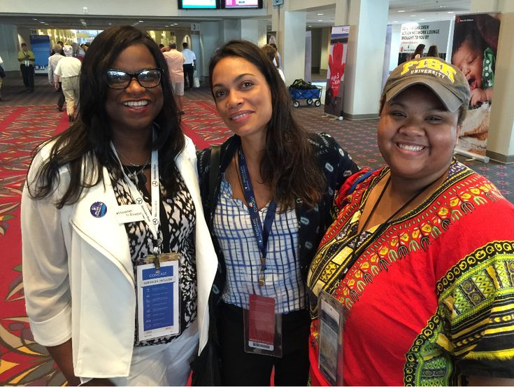 From left: Delegates  Jarralynne Agee; actress Rosario Dawson and Nayirah Muhammad at the 2016 Democratic National Convention. At age 20, Nayirah Muhammad was the youngest of the 55-member Alabama delegation at the Democratic National Convention (DNC) in Philadelphia. (Provided photo)