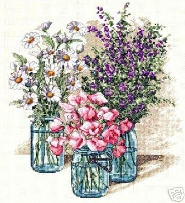 Dimensions Counted #crossstitch  Wildflower Trio #DIY #crafts #decor #needlework #crossstitching #gift #flowers