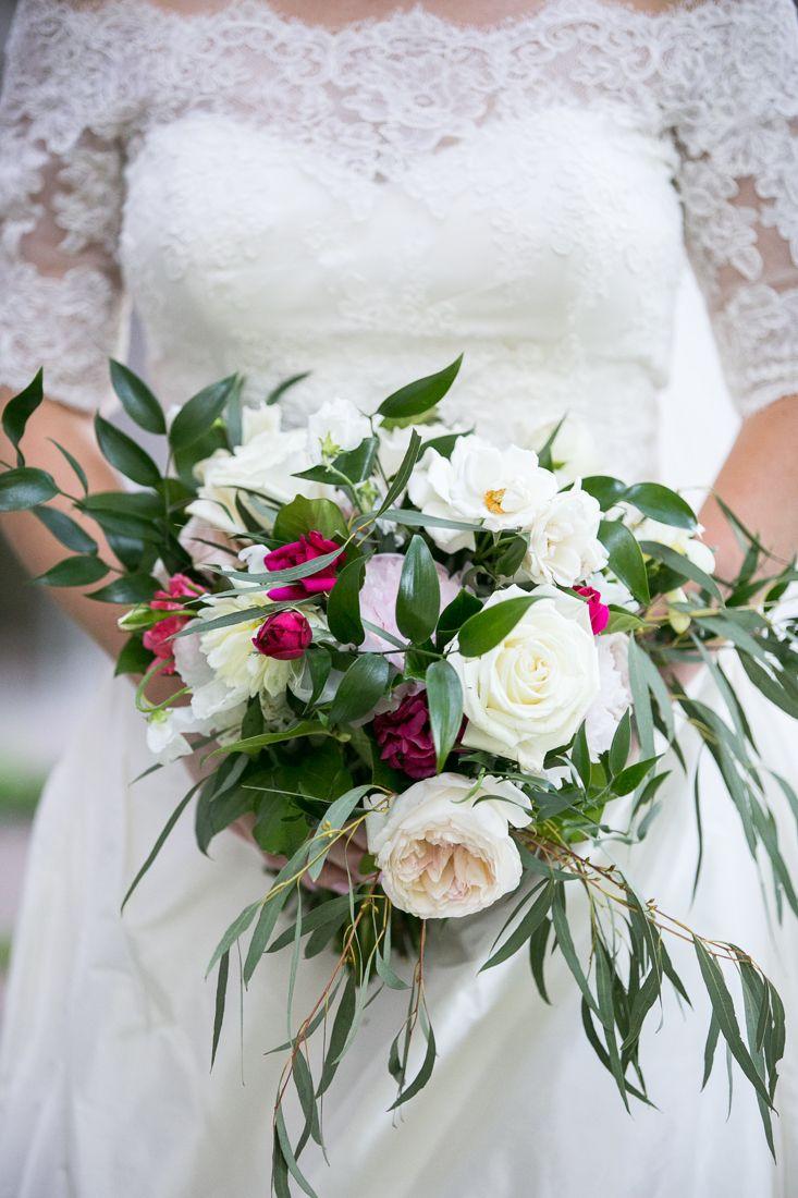 Cascade Bridal Bouquet Featuring Garden Roses Pink Peonies