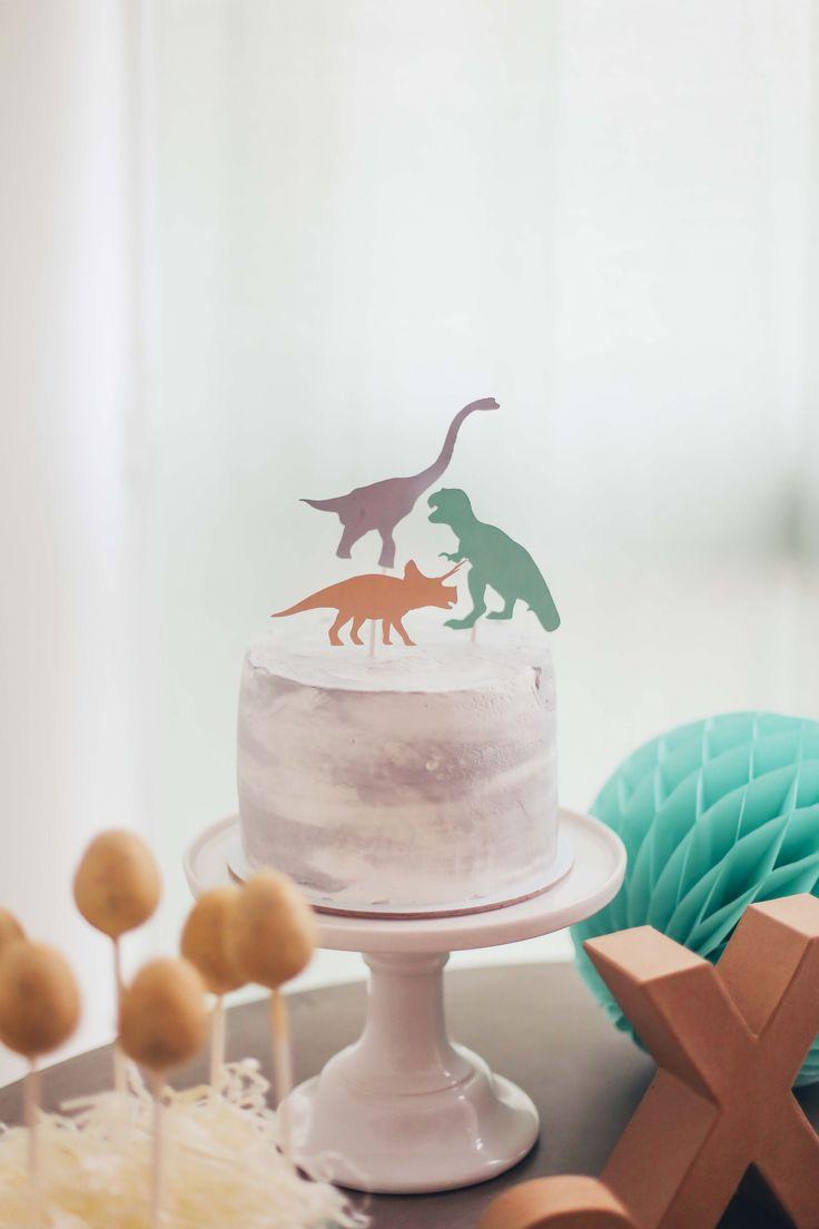 Dinosaur cake toppers Dinosaur buttercream cake