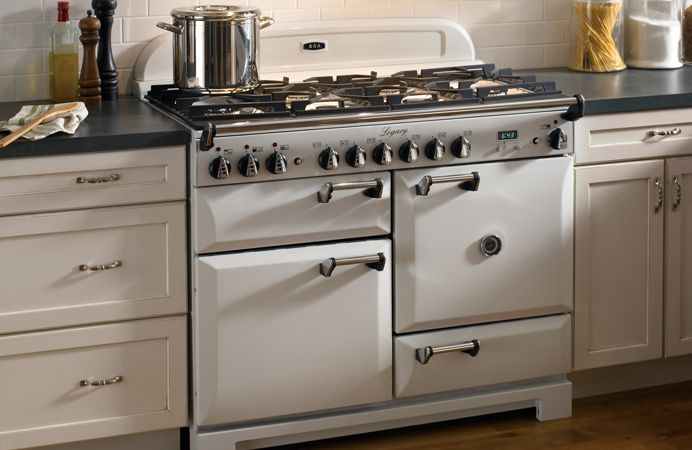 AGA Legacy 44 In Vintage White with individual ovens for multi-function cooking.