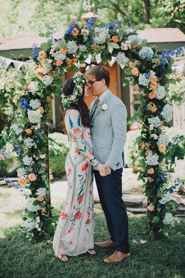 Bohemian Wedding with a Colorful Patterned Dress