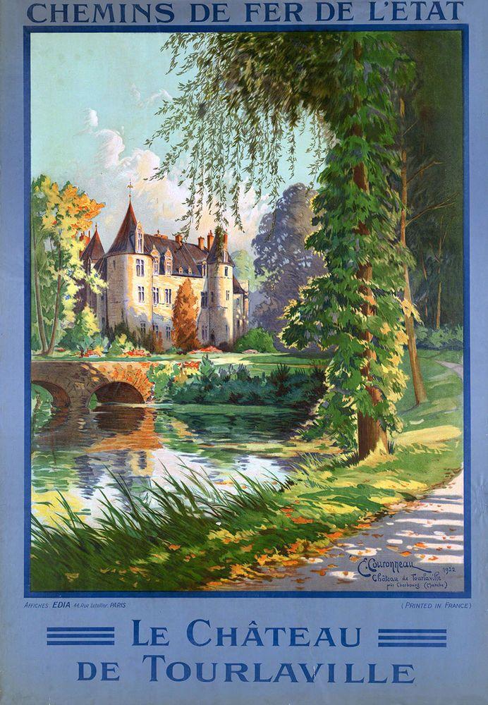 Affiche chemin de fer de l'état - Château de Tourlaville - illustration de C. Couronneau - 1922 - France -