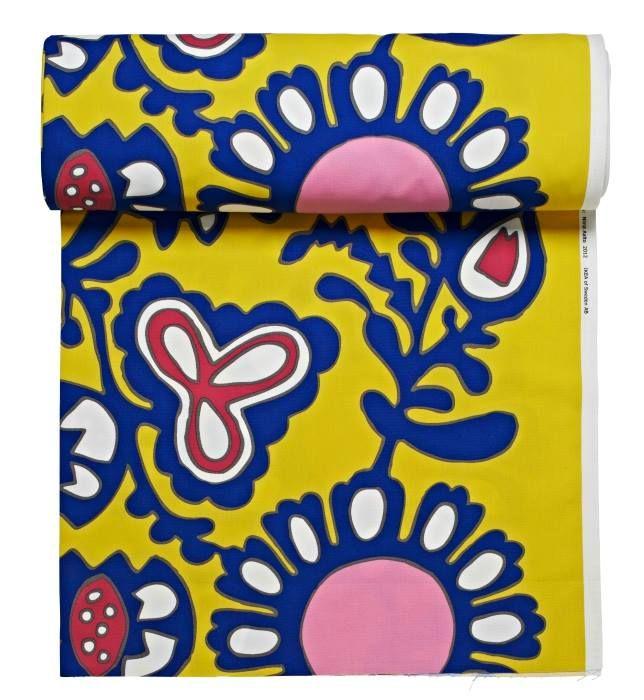 FÄRGKULLA Tessuto a metraggio, motivo floreale giallo, blu/rosa