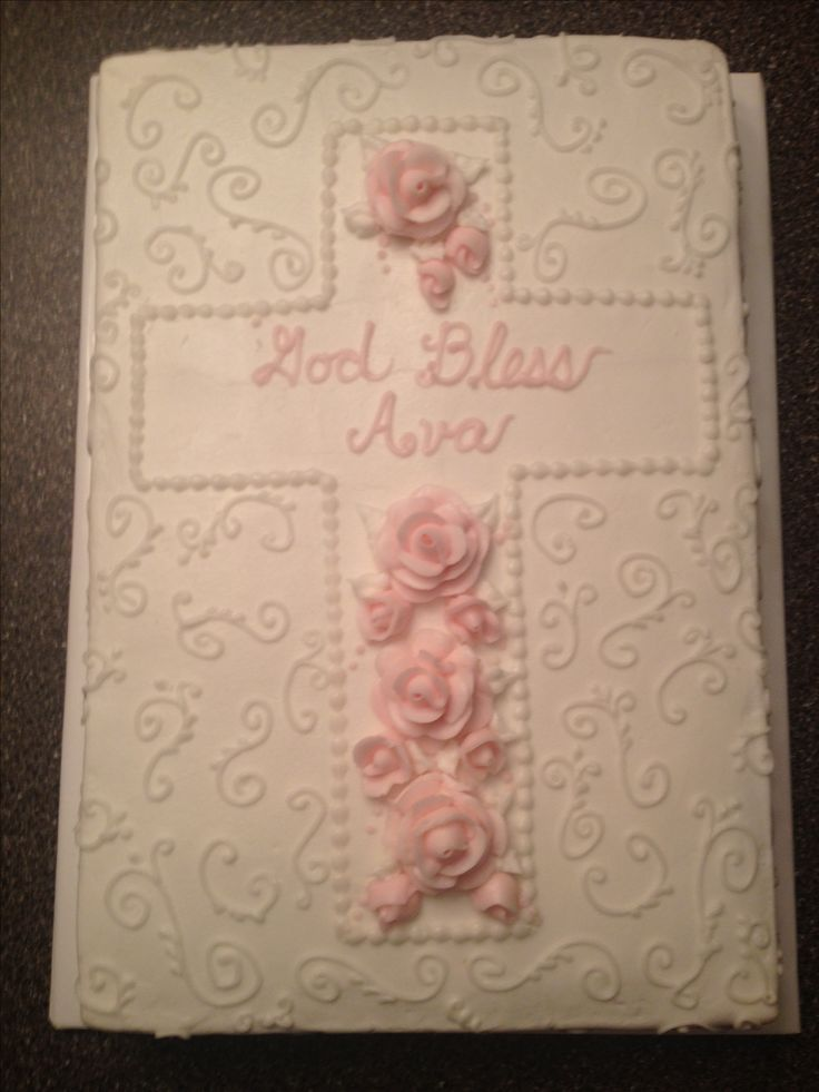 Baptism cake 12x18 sheet cake w buttercream icing and roses tip 7