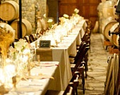 Tables!: Wooden Chairs, Wine Cellar, Wedding Receptions, Wedding Ideas, Burlap Tables Runners, Rustic Decor, Burlap Runners, Long Tables, Rustic Wedding