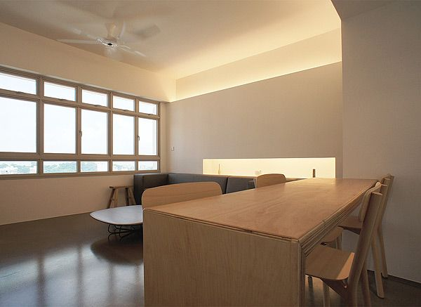 Minimalist living ceiling fan and slim table home for Korean minimalist house